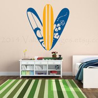 Hawaiian surf boards wall decal, wall sticker, decal, wall graphic , vinyl graphic wall decal, vinyl decal, sticker