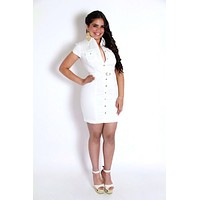 Belted White Short Sleeves Button Up Dress
