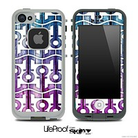 White and Pink and Blue Wood Anchor Collage Skin for the iPhone 5 or 4/4s LifeProof Case