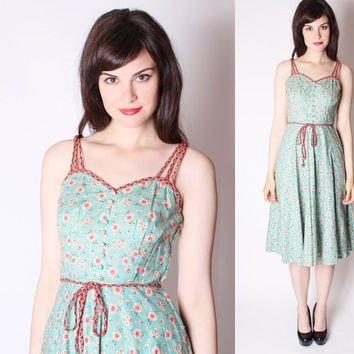 Vintage Dress / 30s Dress /  Rustic Floral Dress / 1930s Vintage Dress / Cotton Dress  / Turquoise Dress / 2321
