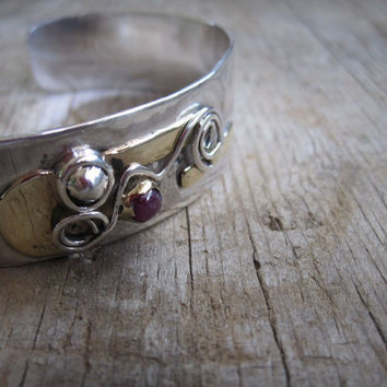 Sterling & Gold Bracelet with Ruby Handmade etsy metal jewelry