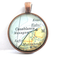 Casablanca Morocco Pendant from Vintage Map by CarpeDiemHandmade