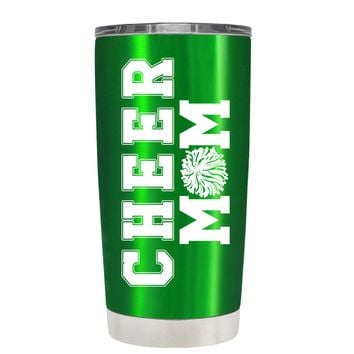 Pom Pom Cheer Mom on Translucent Green 20 oz Tumbler Cup