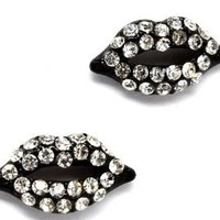 """Cute Sparkling Jet Black with Clear Crystal Embellished Lips Stud 3/4"""" Stud Earrings for Teens and Women"""