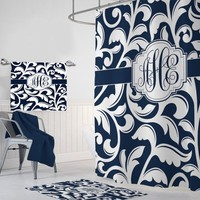 Navy White SHOWER CURTAIN, Navy White Swirl Bathroom Decor, Navy White Swirl Custom MONOGRAM Personalized Bath Towel,  Bath Mat Options