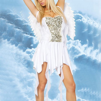 White Beaded Asymmetrical Dress Angel Costume