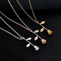 Rose Flower Charm Necklace