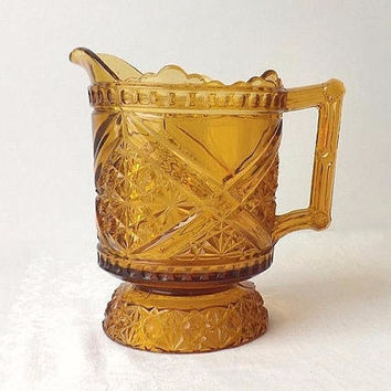 1880's Amber Glass Pitcher Richards & Hartley Daisy & Button with Crossbars aka Mikado