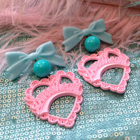 Pink, Aqua and Baby Blue Sweetheart Earrings