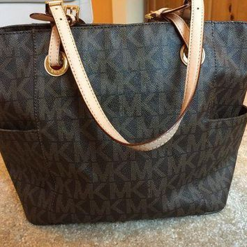 Kalete Michael Kors Brown MK PVC Large Tote Shopper Bag I