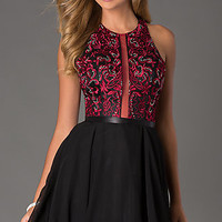 Short Sleeveless Dress with Embroidered Bodice