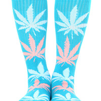 TURQUOISE/LIGHT BLUE/PINK PLANTLIFE CREW SOCK