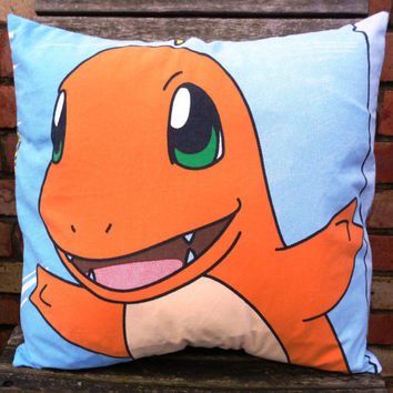 Pokemon Charmander Vintage Fabric Cushion - handmade by Alien Couture