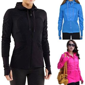 Lululemon Fashion Drawstring Solid Cardigan Jacket Coat Windbreaker