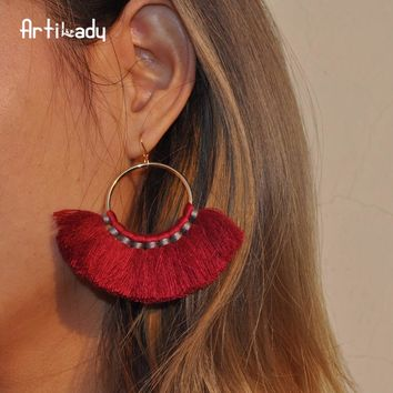 Cotton tassel handmade bohemia drop dangle earrings