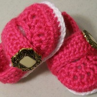 Baby Girl shoes-Bright Pink Button Shoes Crochet-Gift made in the USA