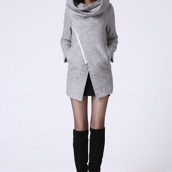 Asymmetrical Coat with Snood Hood - Women Pale Gray Mini Winter Jacket with Zipper  Closure & Pockets  (1060)