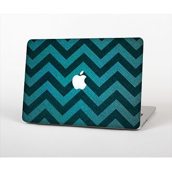 "The Teal Grunge Chevron Pattern Skin Set for the Apple MacBook Pro 13"" with Retina Display"