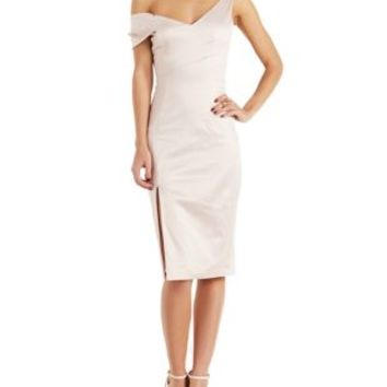 Evening Sand Asymmetrical Satin Bodycon Dress by Charlotte Russe