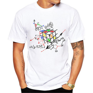 2017 New Fashion Math Work Design Men T-shirt Short Sleeve Hipster Tops Rubik cube Printed t shirts Cool tee