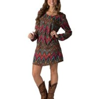 Rock 47 by Wrangler Women's Fuchsia & Teal Ikat Print Long Sleeve Dress