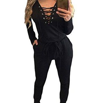 HOTAPEI Women's Lace Up Long Sleeve Drawstring Jumpsuit Romper