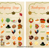20 Thanksgiving  Bingo Printable Cards Prefilled with Thanksgiving Cliparts  Thanksgiving Bingo  Card Game Paper Background Instant Download