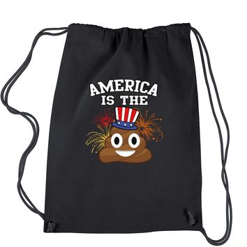 America Is The Poop Emoticon Drawstring Backpack