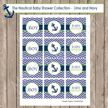 Nautical Navy and Lime Green Chevron Baby Shower Cupcake Toppers or Universal Circles - Nautical2 INSTANT DOWNLOAD