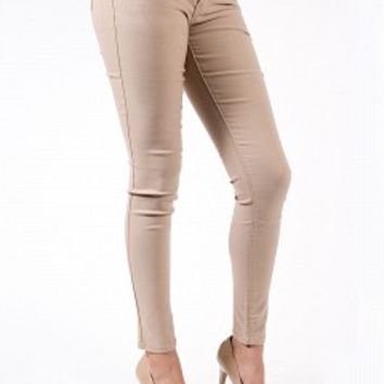 6029-1-4 Khaki Skinny Jeans Apparel Jeans KHAKI Bare Feet Shoes