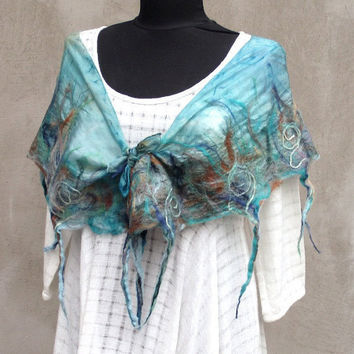 Sea felted scarf, Nuno felted Scarf, Turquoise felt scarf, Teal felted scarf, Felted silk scarf,