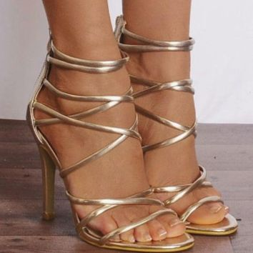 Stiletto High Heel Open Toe Metallic Sandals