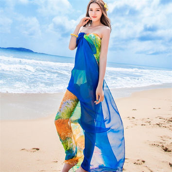 Floral Beach Print Sarong - Bikini Cover Up -  180*110cm