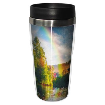 Rainbow's End Artful Travel Mug - Premium 16 oz Stainless Lined w/ No Spill Lid