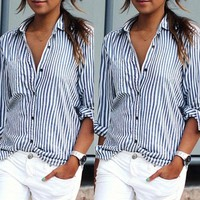 New Fashion Womens Casual Chiffon T-shirt stripe Print Blouses Long Sleeve Tops