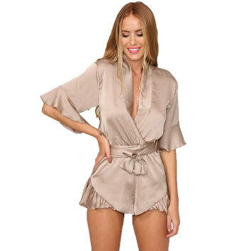 GJ106 New Woman Relax Loose Fit Deep V Neck 3/4 Sleeve Silk Ruffled Romper Satin Playsuit Casual Jumpsuits S-XL Tan Peach Black