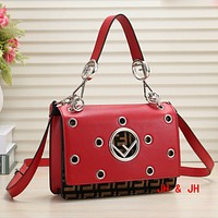 Fendi New fashion hole hollow more letter shoulder bag crossbody women Red