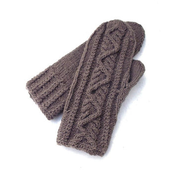 Hand knitted grey wool mittens, gray cabled mittens, knitting accessories, celtic mitts, handmade hand warmers, knit gray winter gloves,