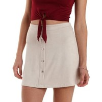 Light Tan Button-Up Microfiber Skirt by Charlotte Russe