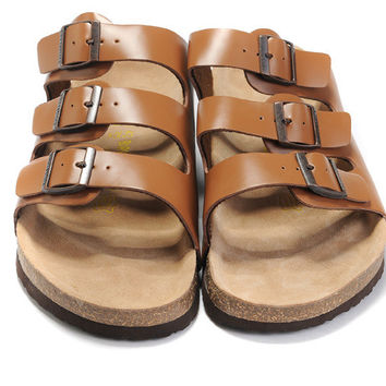 2017 New STYLE Birkenstock Summer Fashion Leather Cork Flats Beach Lovers Slippers Casual Sandals For Women Men Couples Slippers size 36-45