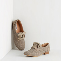 ModCloth Menswear Inspired Worth Your Smile Flat in Stone