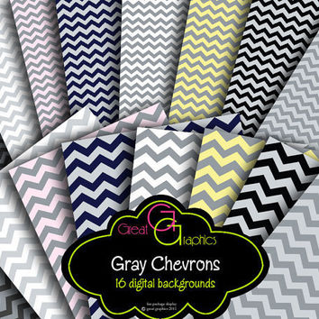 Gray Chevron Backgrounds chevron digital by GreatGraphics on Etsy