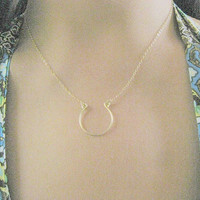 gold necklace, horseshoe necklace, small gold horseshoe necklace, handmade horseshoe charm