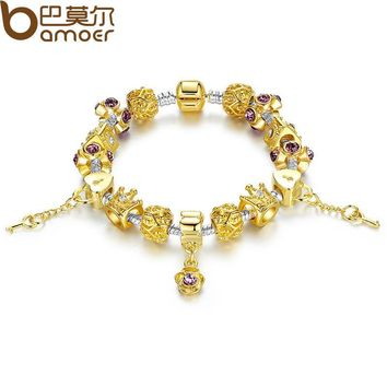 Gold Color Strand Bracelet with Crown Charm for Women With Murano Glass Beads Birthday Gift PA1428