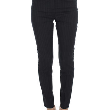 Dolce & Gabbana Gray Striped Wool High Waist Slim Pants