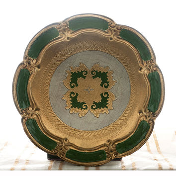 Italian Florentine Tray, Round Tray, Fleur de Lis, Vintage Serving Tray, Bar Tray, Vanity Tray, Made in Italy