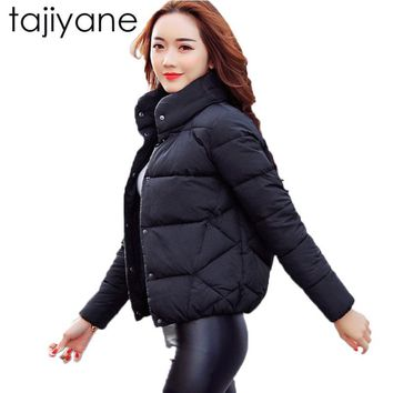 Trendy TAJIYANE 2018 New Fashion Spring And Winter Cotton Korean Casual Soild Stand Collar Female Jacket Down Feather Woman Coat  LD031 AT_94_13