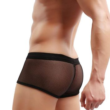 Men's Mesh Transparent Breathable Sexy Underwear Male Hot Hips Up Fish net Underwear Boxer Sexy Colorful Erogenous Boxer