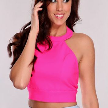 Hot Pink Halter Crop Top