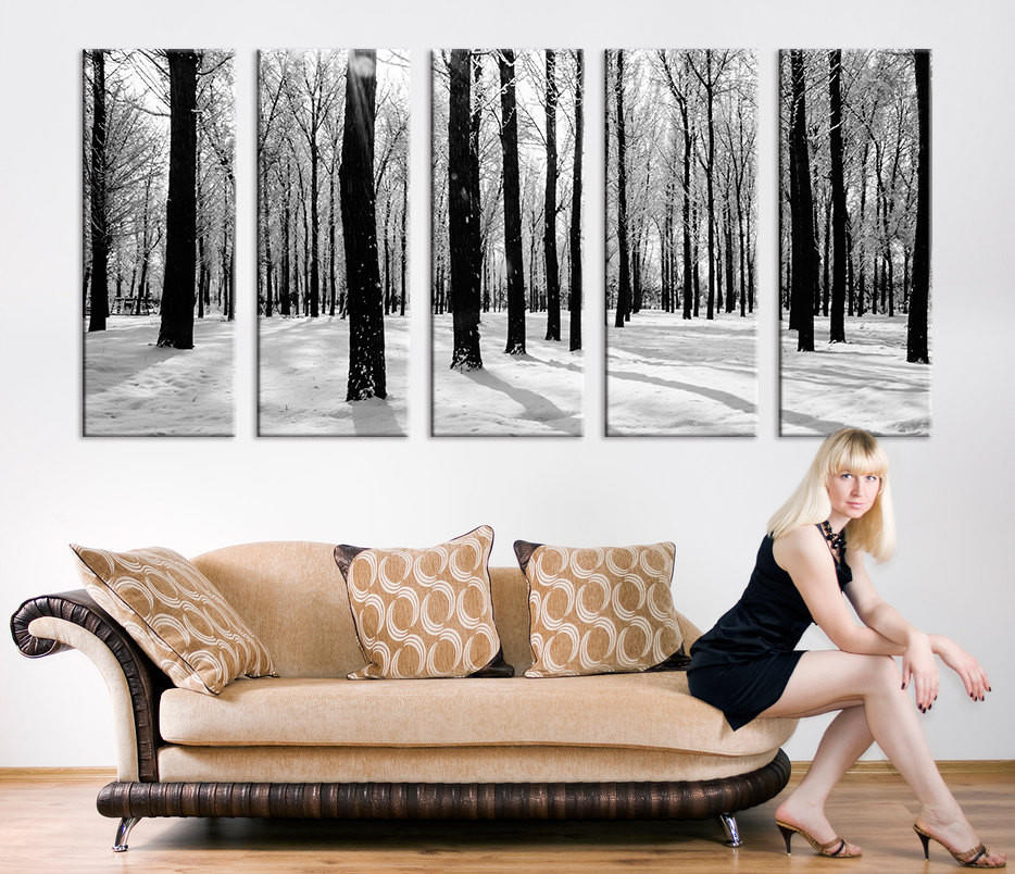 & Grayscale Forest and Snow Large Wall Art from MyCanvasPrint